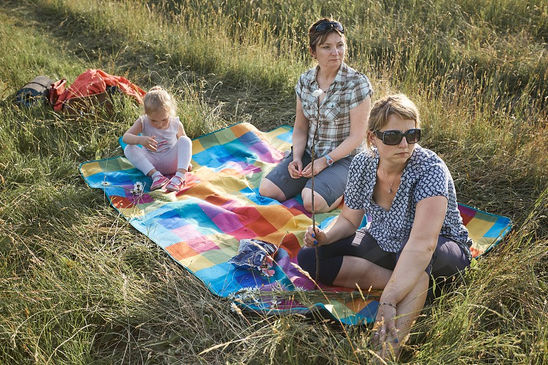Family spending time together on a meadow close to nature roasting marshmallows over a campfire parents and children playing together and sitting on a blanket on grass. Candid people real moments authentic situations photo