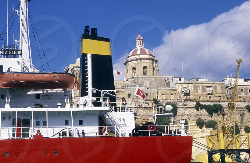 The Habour in centre of the Old Town of the city of Valletta on the Island of Malta in the Mediterranean Sea in Europe. photo