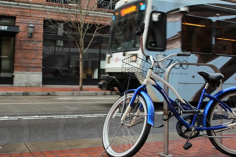 Going Green Portland travel MAX and blue bike photo