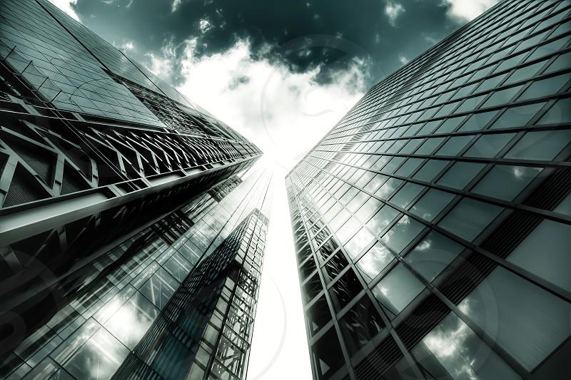 London architecture building sky blue modern abstract window glass steel skyscraper photo