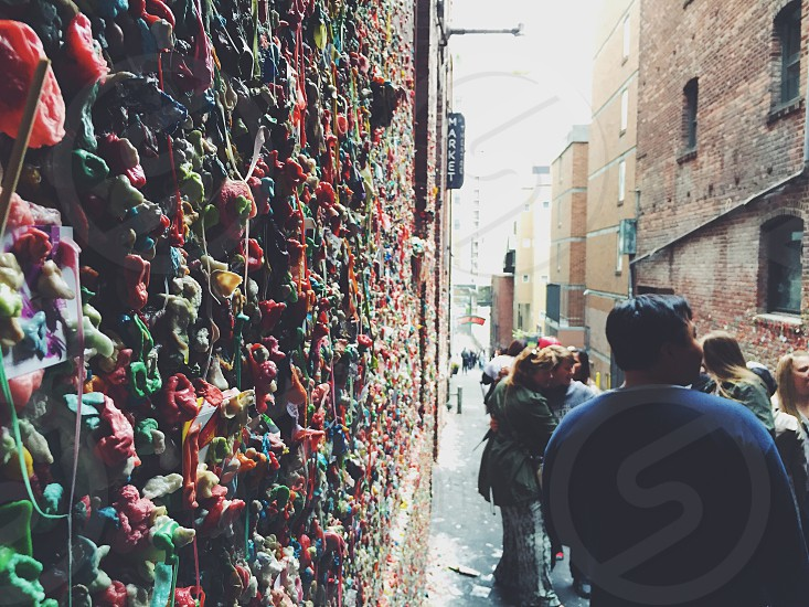 Gum Wall gum wall Seattle Washington Pacific Northwest Pike's Place Market travel explore people adventure  photo