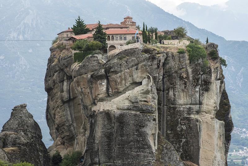Meteora in Greece. Meteora is the monasteries on the top of the rock towers. Greece Meteora photo