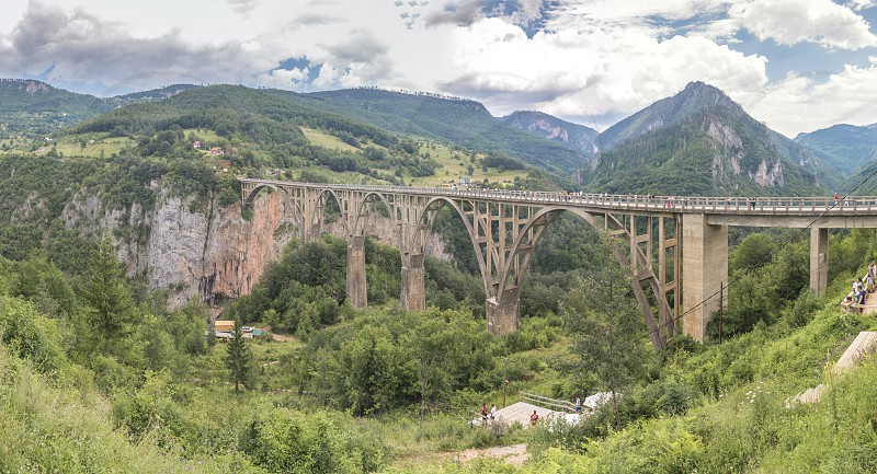 Tara river Montenegro - 07.16.2018. Panoramic view of Djurdjevic Bridge and Tara River canyon in Durmitor National Park Montenegro. photo