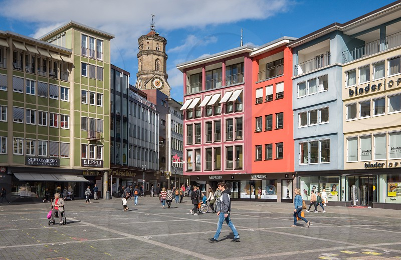 Downtown Stuttgart city in Germany photo