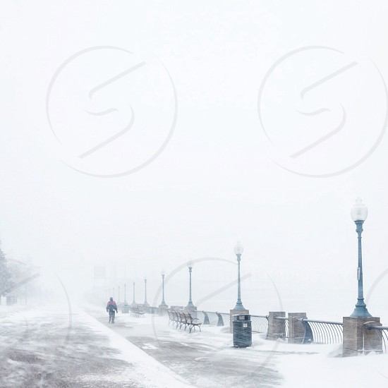person walking on snow covered area photo