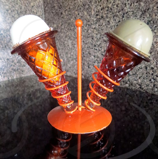 Ice cream cone salt & pepper shakers photo