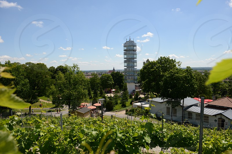 Cityscape of Brandenburg an der Havel with its peace tower in Marien mountain. photo