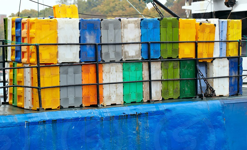 Bright colorful containers on the cargo ship at the port. photo