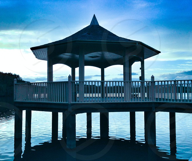 Soft colour blue lighting water sky pagoda  photo
