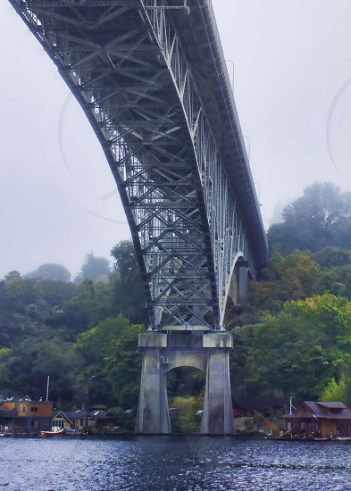 The Aurora bridge in Seattle on a foggy Friday morning. photo