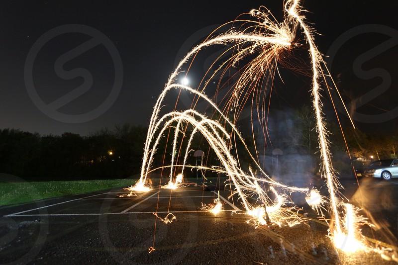 fireworks on road photo
