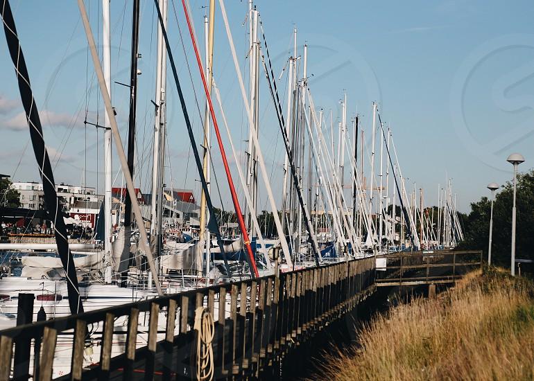 Water transport  sailing sailing boats pier harbor jetty boat masts photo