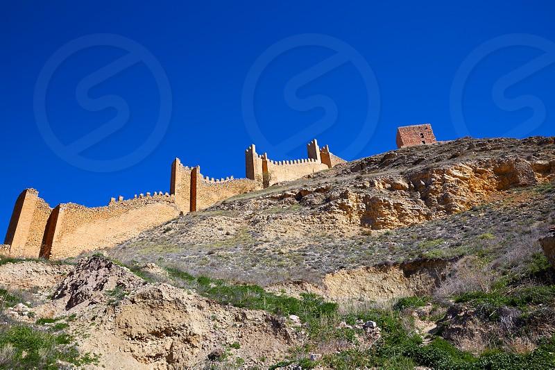 Albarracin medieval town fortress rampart village at Teruel Spain photo