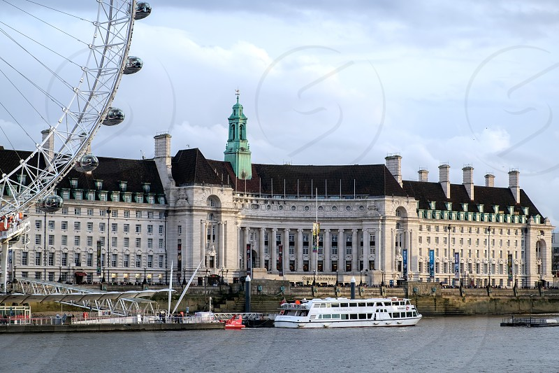 View of County Hall and the London Eye photo