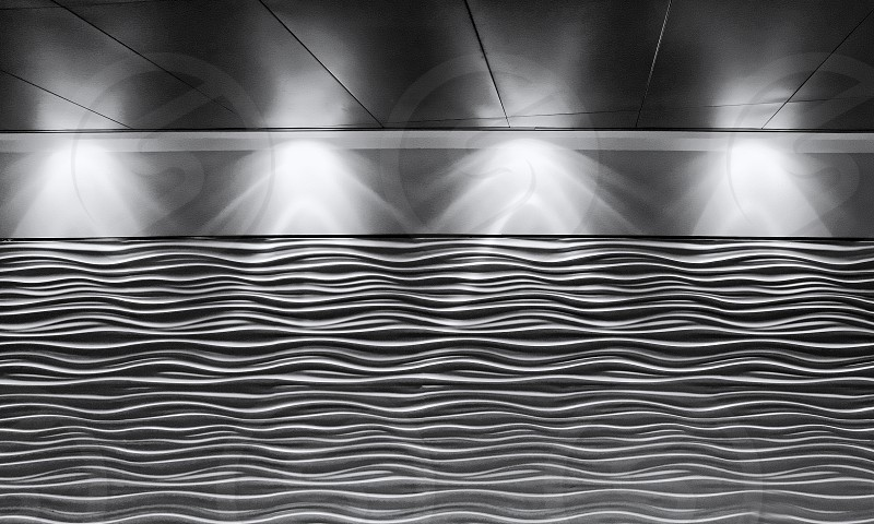 Lighting on an airport wall form an abstract image photo