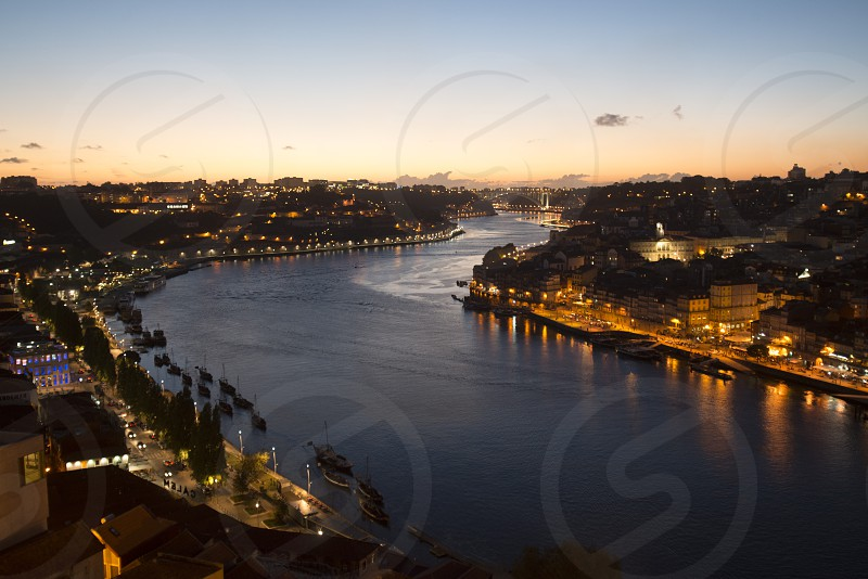 the Douro River in Ribeira in the city centre of Porto in Porugal in Europe. photo