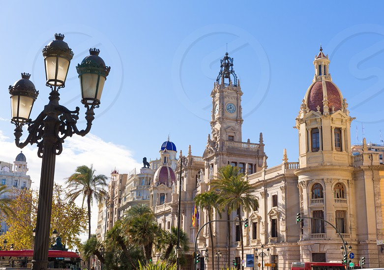 Valencia Ayuntamiento city town hall building and square in Spain photo