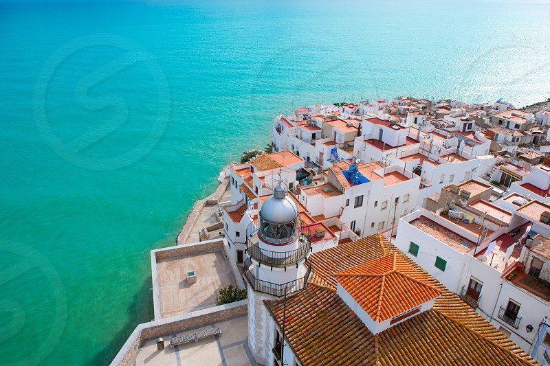 Peniscola beach and Village aerial view in Castellon Valencian community of spain photo
