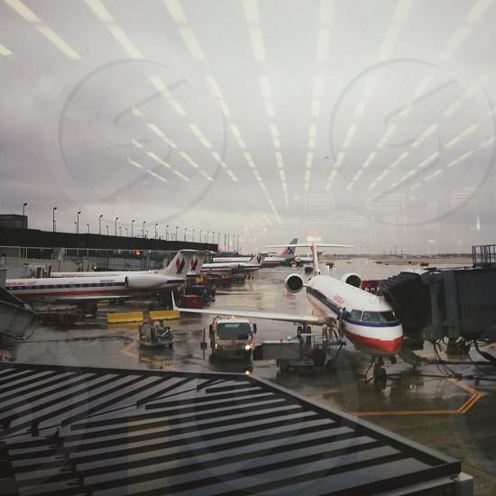 passenger airplanes at air port photo