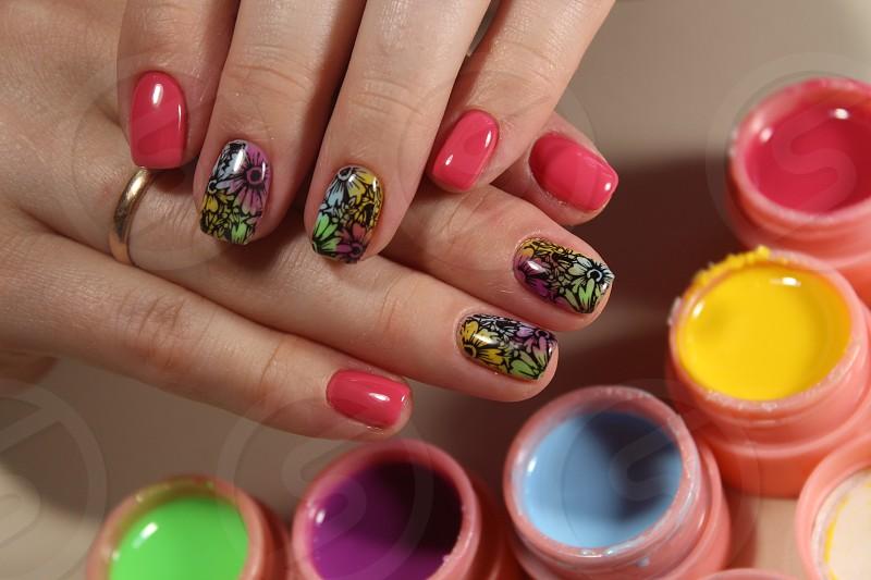 Bright colorful design of manicure photo