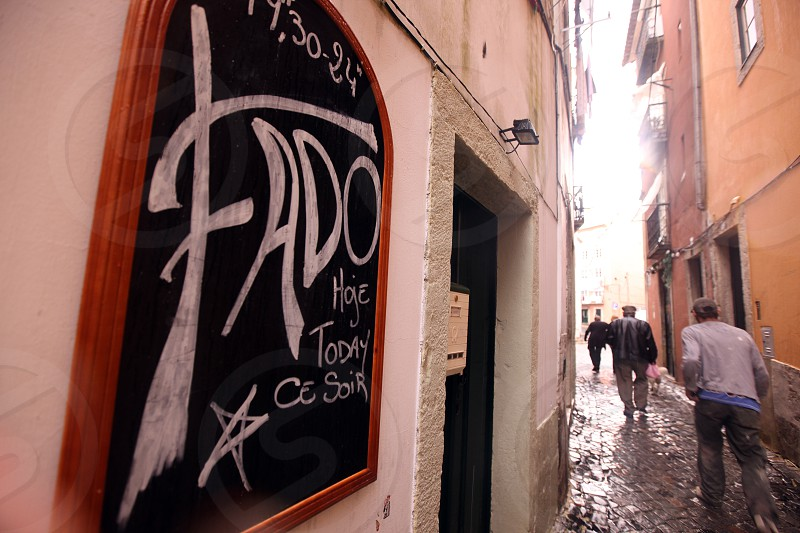 fado in the old town of Alfama in the city centre of Lisbon in Portugal in Europe. photo