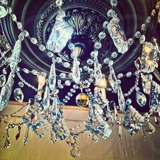 white glass chandelier  photo