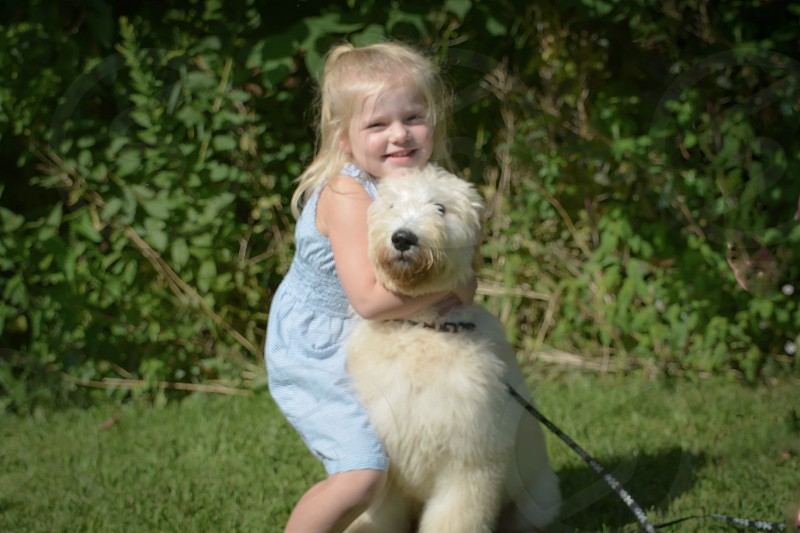 A girl and her goldendoodle  photo