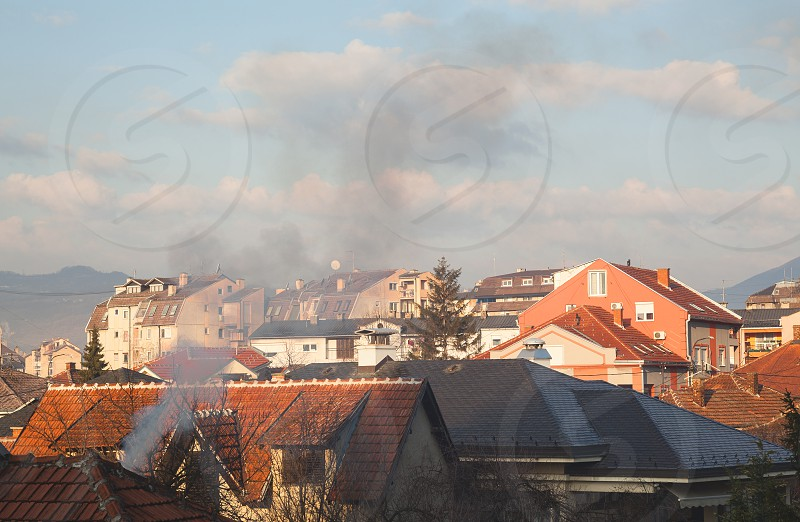 Classical living style in Serbia as well as in whole Balkan. Late winter season morning.  photo
