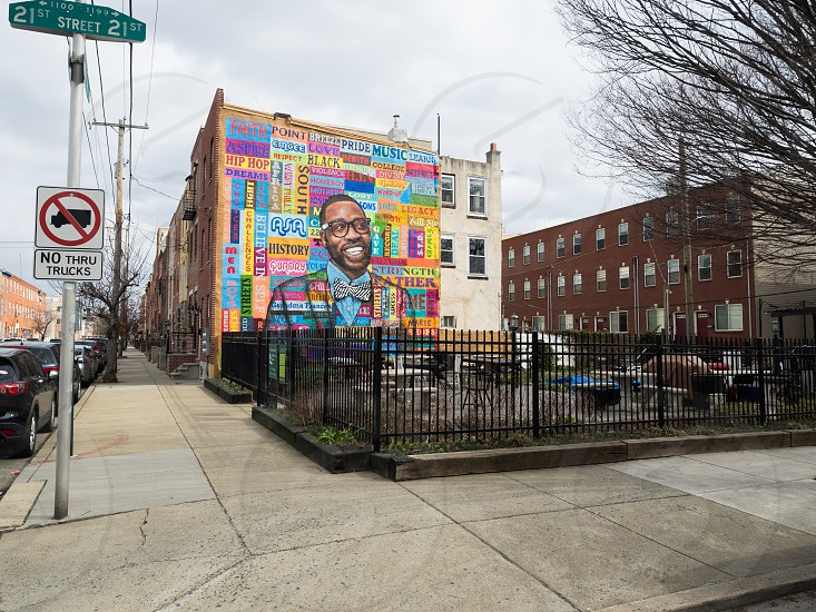 colorful mural in point breeze photo