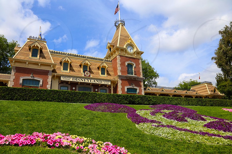 The Disneyland Railroad Station during a beautiful day. photo