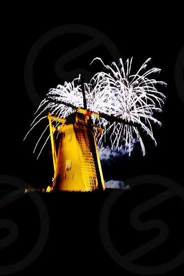 Mill fireworks  dark photo