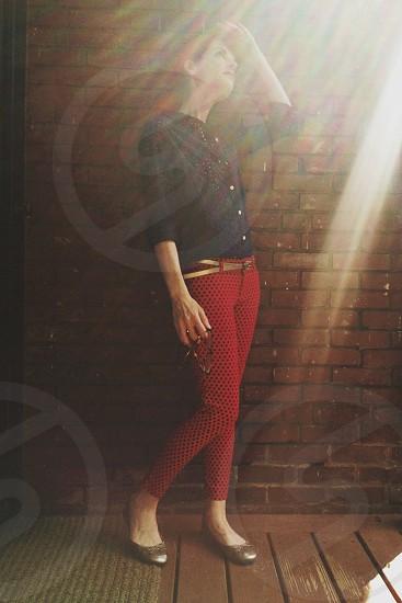 women's red pants  photo