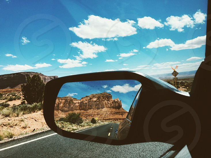 Monument Valley rearview mirror photo