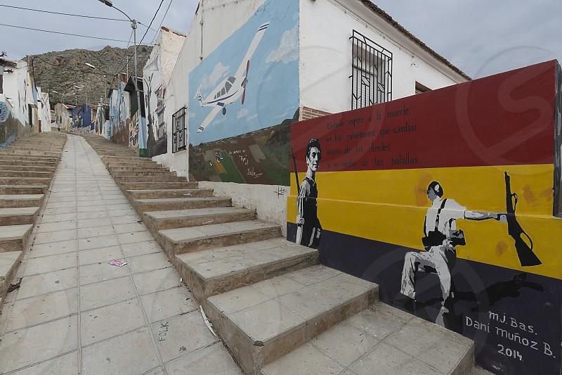 Orihuela Spain. February 26 2018: Murals of San Isidro in Homage to Miguel Hernandez in the city of Orihuela province of Alicante Spain. photo