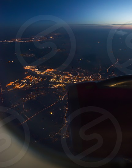 Night view Out Of Airplane Window photo