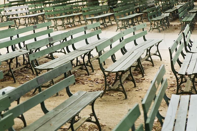 grey benches photograph photo