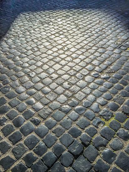 Cobblestone roman rome pavement street Typical Outdoor nobody photo