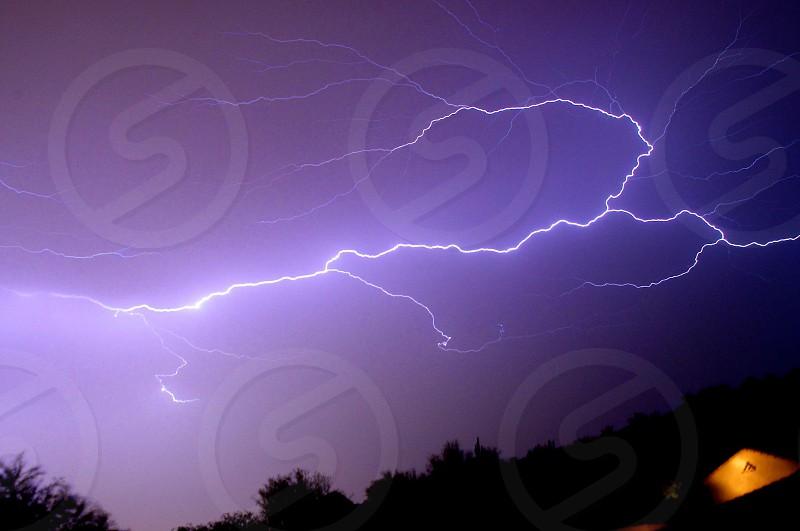 Lightening strike in Arizona during a monsoon storm.  photo