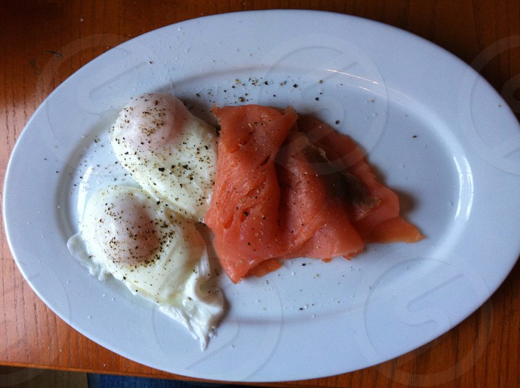 Poached eggs smoked salmon breakfast brunch  photo