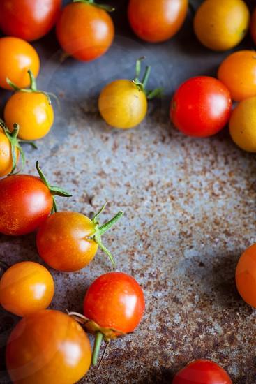 Fresh picked cherry tomatoes. photo