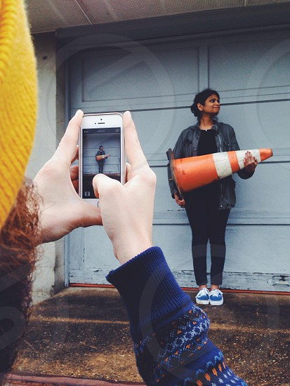 orange and white traffic cone photo