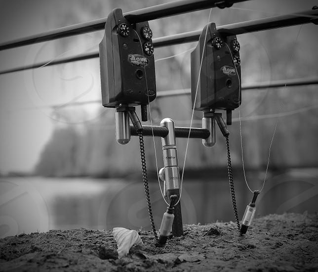 Black and white artwork of my fishing setup  photo