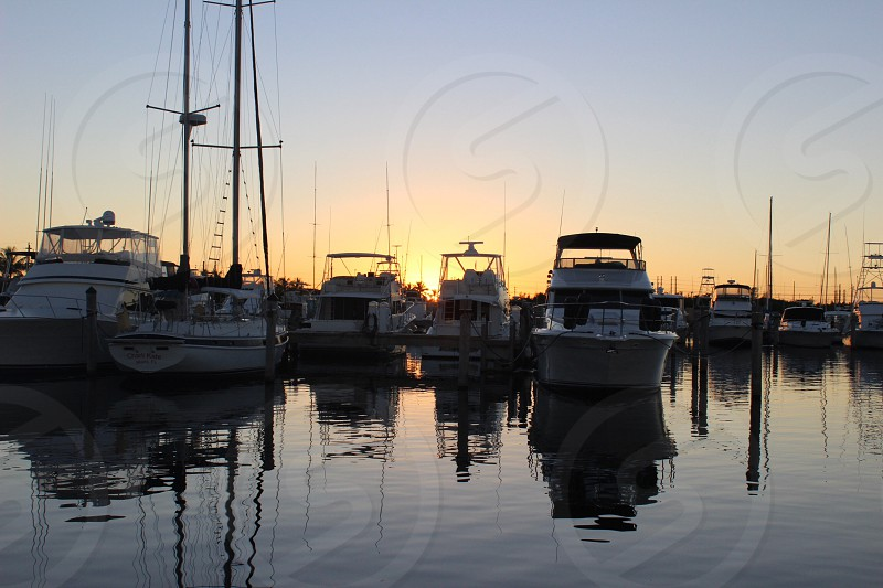 Boat dock reflections photo