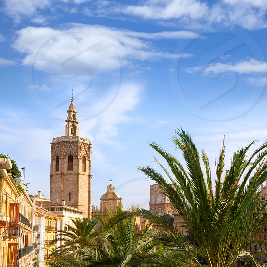 Valencia historic downtown El Miguelete and Cathedral  Micalet de la Seu in spain photo