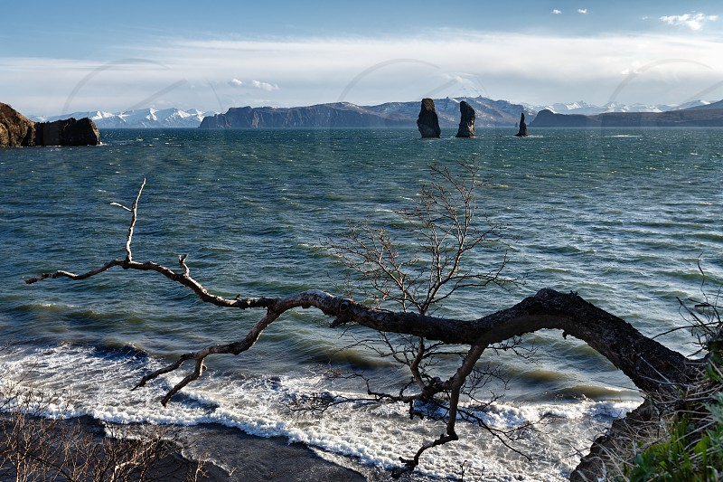 Beautiful Kamchatka seascape: view of rocky islands in sea - Three Brothers Rocks in Avachinskaya Bay (Avacha Bay) in Pacific Ocean. Kamchatka Peninsula Russian Far East Eurasia. photo