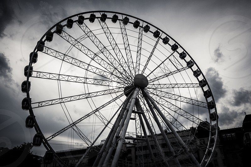 Budapest Eye (Sziget's Eye - ferris wheel) in dramtic black and white. photo