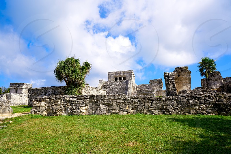 Tulum Mayan city ruins in Riviera Maya at the Caribbean of Mayan Mexico photo