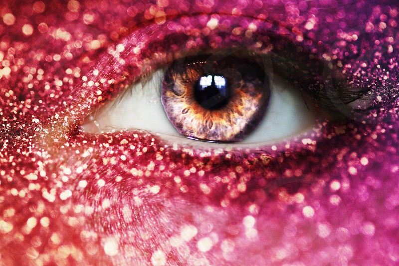 Eye glitter sparkle macro indie cute festive holiday happy glam photo