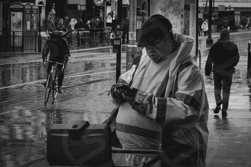 Bin man taking a break. Manchester UK. photo