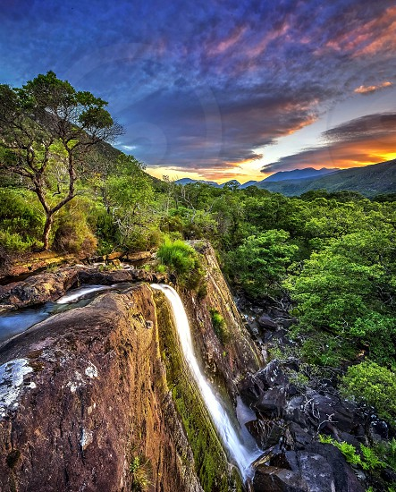 waterfalls on a forests photo